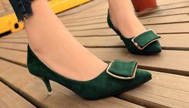 pp325 elegant 6 cm heel pointy pump. nubuck leather, US Size 4.5-9 green - $42.80