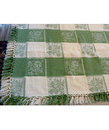 "Vintage Tablecloth jacquard Damask W 3"" Fringe Cotton Green off white 51... - $59.39"