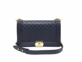 100% AUTHENTIC CHANEL NAVY BLUE QUILTED LEATHER NEW MEDIUM BOY FLAP BAG GHW