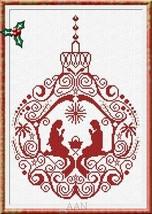 Manger Ornament christmas cross stitch chart AAN Alessandra Adelaide Needleworks - $16.75