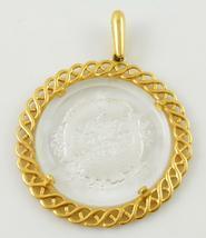TRIFARI Pisces Zodiac Carved Glass Gold-Tone Round PENDANT - 2 1/2 inches - $35.00