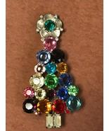 Estate Large Colorful Prong Set Round Rhinestone Christmas Tree w Large ... - $23.49