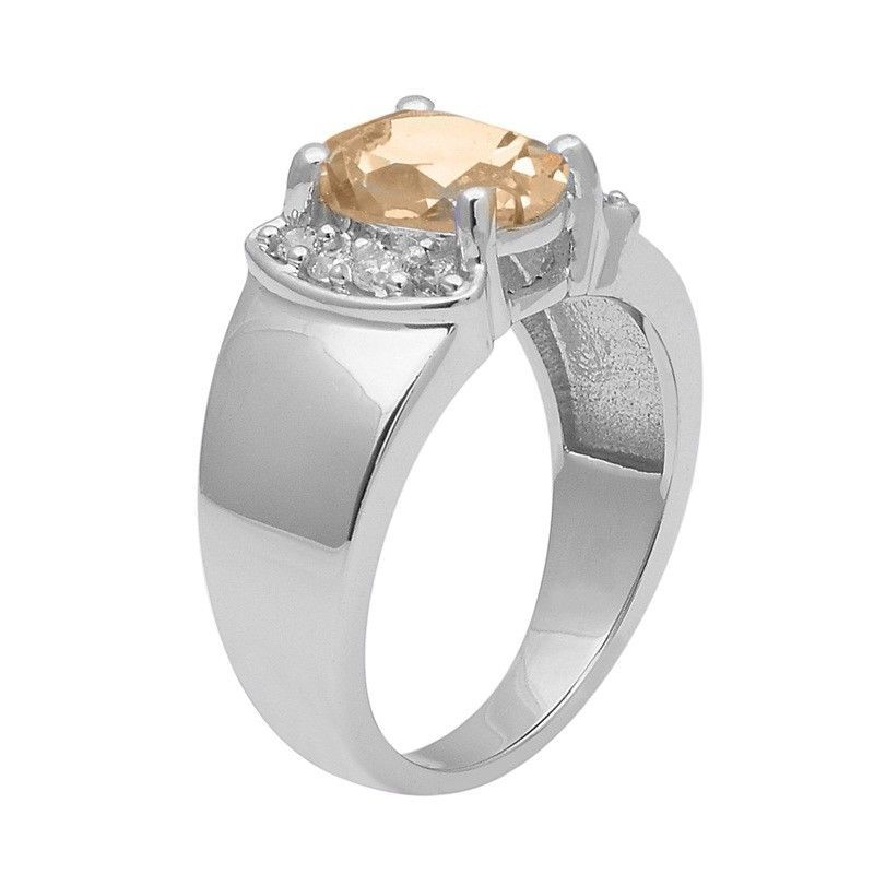 Citrine With White Topaz 925 Sterling Silver Ring Shine Jewelry Size-9 SHRI1403