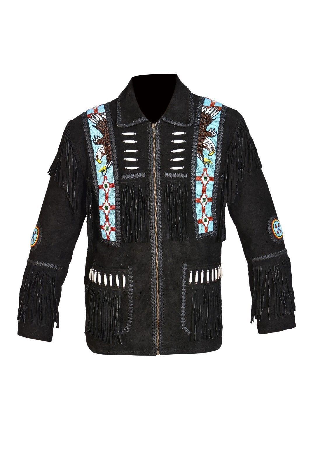 Men New Native American Buckskin Black Goat Suede Leather Bead Shirt & Pant WS69 image 3
