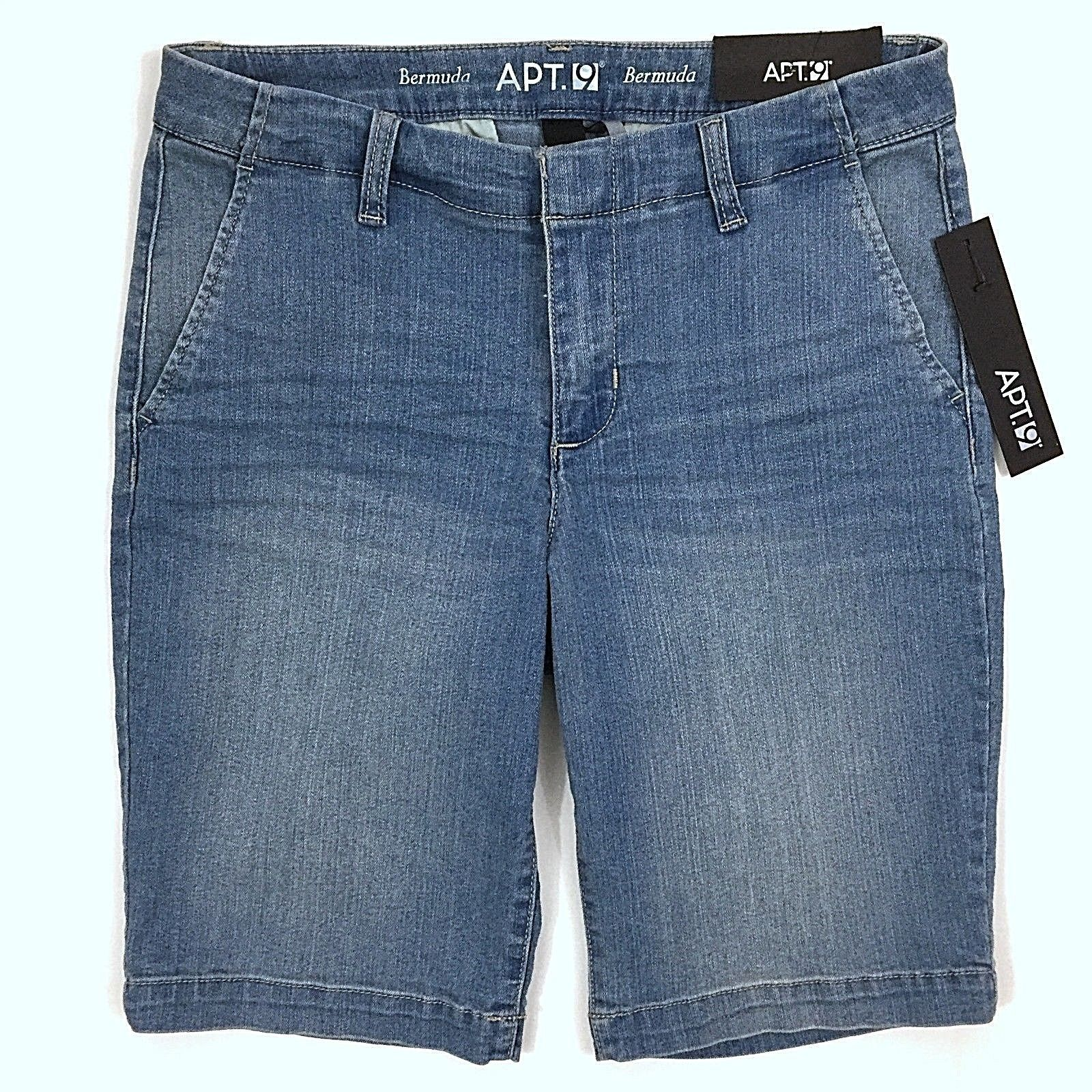 123d295090 Apt 9 Bermuda Jean Shorts Size 8 Blue Denim Cotton Blend Mid Rise 4 Pockets  -  15.83