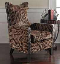 HIGH BACK ANIMAL PRINT ACCENT CHAIR RUSTIC TUSCAN CONTEMPORARY SAFARI - $825.80