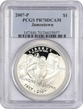 2007-P Jamestown $1 PCGS Proof 70 DCAM - $92.15