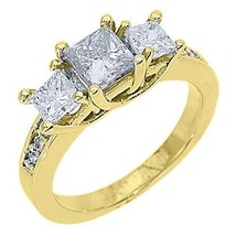 1.63 CARAT WOMENS 3-STONE PAST PRESENT FUTURE DIAMOND RING PRINCESS YELL... - £4,763.93 GBP