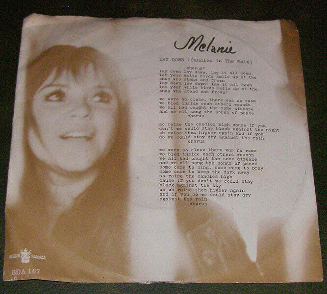 Melanie Lay Down/Candles In The Rain 7 Inch Record