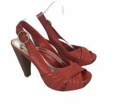 "Gianni Bini Womans Shoes Size 7.5 M Red Slingback 4"" Heel Open Toe Sexy Platform - $17.34"