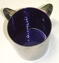 Judaica Hand Wash Cup Netilat Yadayim Last Water Stainless Steel Purple Hammered image 4