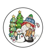 """30 CHRISTMAS GNOME ENVELOPE SEALS LABELS STICKERS 1.5"""" ROUND SNOWMAN GIFTS - $4.99"""