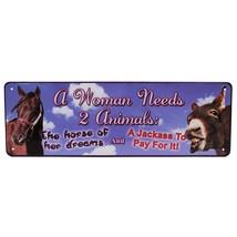 Man Cave Décor Cabin Tin Sign A Woman Needs 2 A... - $14.99