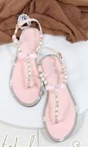 Pink Women Pearls Beach Bridals Flip Flops,Pink Ladies Beach Wedding sandals - $39.99