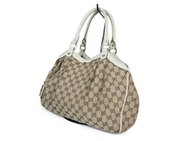 Authentic GUCCI Sukey GG Web Canvas Leather Browns Shoulder Bag GT2093 - $319.00