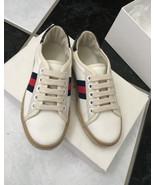 NIB 100% AUTH GUCCI Kid's Canvas Lace Up Sneakers Espadrilles 311524 Sz ... - $167.31