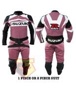SUZUKI GSX-R PINK MOTORBIKE MOTORCYCLE BIKER COWHIDE LEATHER ARMOURED 2 ... - $339.99