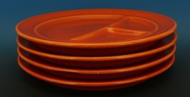 Vintage Poppy Trail California Pottery Uranium Red Divided Grill Plates Set of 4 image 3