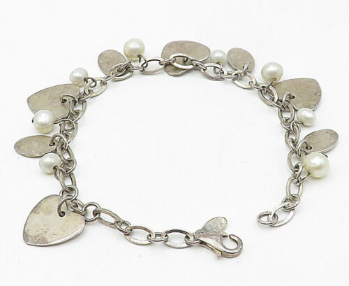 925 Silver - Vintage Freshwater Pearl Love Heart Charmed Chain Bracelet - B4937