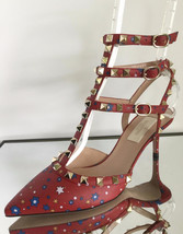 NEW VALENTINO Rockstud Volcano Star Caged Red Pumps (Size 36.5) - MSRP $... - $799.95