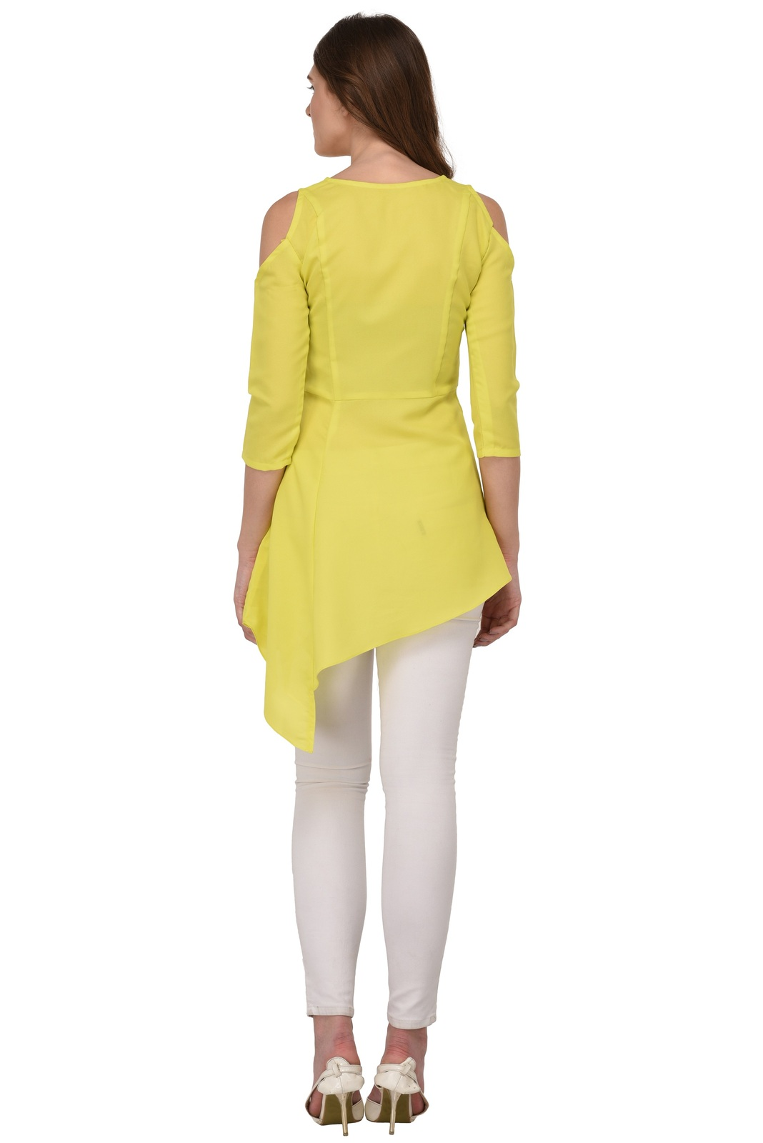 Tunics for women Moss Tunics Crepe Lime Green Cold Shoulder top Christmas gifts image 5