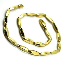 "18K YELLOW GOLD BRACELET ALTERNATE OVAL RICE TUBE LINKS, length 21.5 cm 8.4"" image 2"