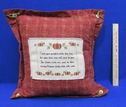 "Throw Pillow Thanksgiving Poem Harvest Pumpkins Red Plush Country 17"" Em... - $12.86"