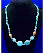 Vintage Turquoise Necklace - 4 Turquoise Discs - 2 Silver Metal Beads - ... - $24.50