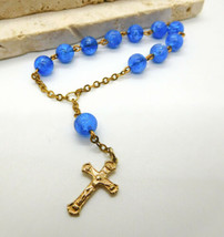 Vintage Blue Lucite Bead Gold Tone Catholic One Decade Rosary AA35 - $13.99