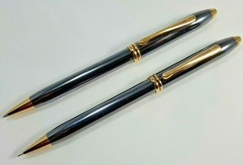 Cross Townsend Grey Lacquer Platinum & 23k Gold Trim Pen & Pencil Set VI... - $247.50