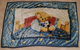VTG Blue Jean Teddy Bear Fleece Baby Blanket Panda Blue Soft Stars Moon ... - $24.70