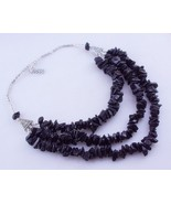 Uncut Black Onyx Silver Overlay Beaded Necklace Jewelry 116 Gr. Ms-18-1 - $2.59
