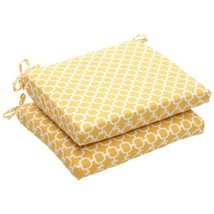 Pillow Perfect Indoor/Outdoor Yellow/White Geometric Square Seat Cushion... - £36.96 GBP