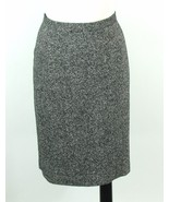 TALBOTS Size 12 Black White Tweed Straight Knee Skirt Silk, Wool - $15.99