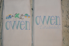 Personalized Baby Boy Burp Cloth set of 2 with Plane Train and Car Monogrammed  - $18.00