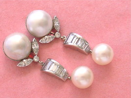 VINTAGE 3.1ctw DIAMOND 12mm MABE 9mm SALTWATER PEARL COCKTAIL CLIP EARRI... - $3,404.61
