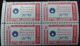 Four MNH 1960 U.S. Stamps Motto in God We Trust  - $1.49