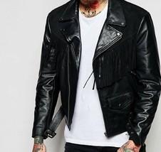 Men Black Suede Western Cowboy Leather Jacket With Fringe - $145.00