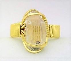 Quartz Crystal Gold Wire Wrap Gemstone Ring 8 - $10.32