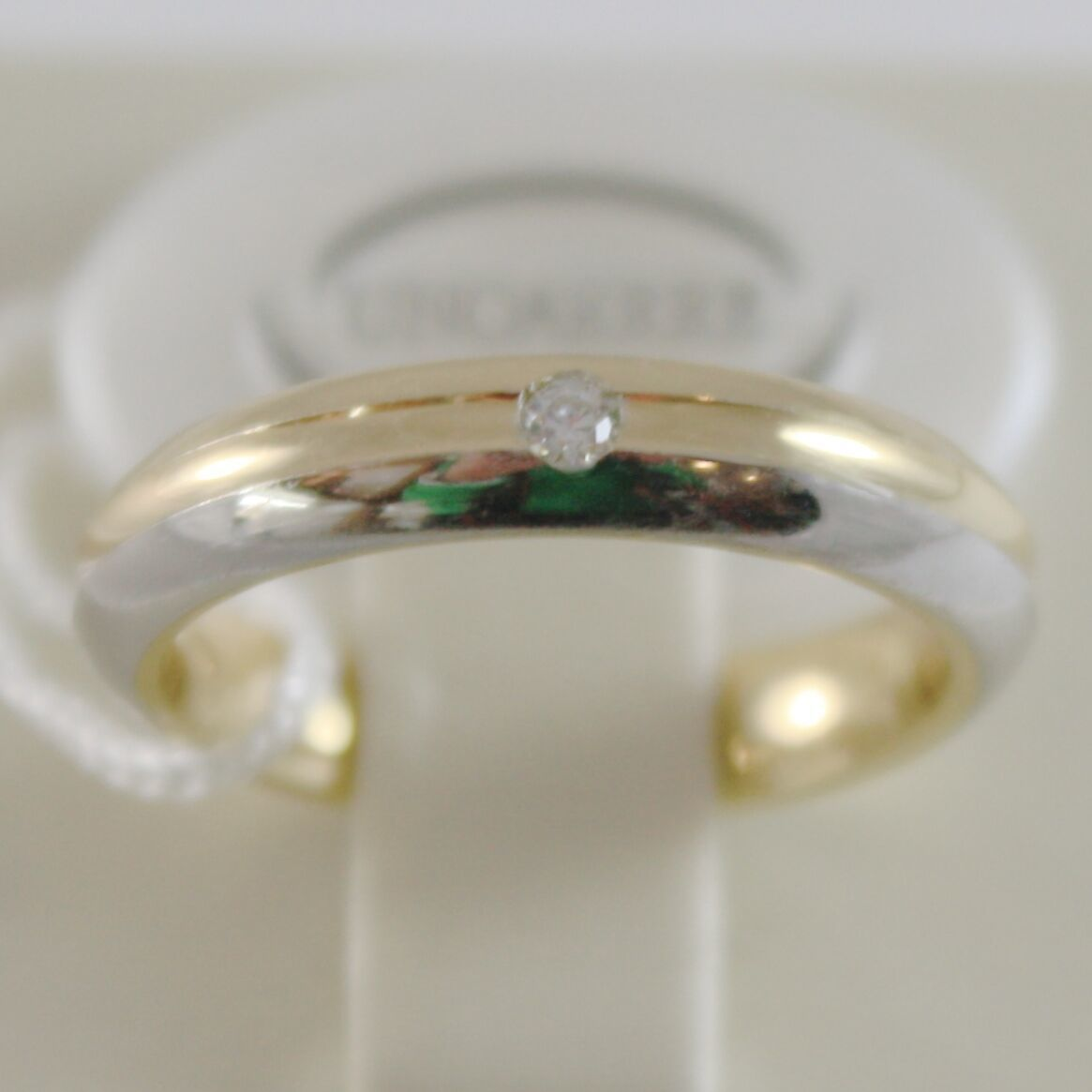 18K YELLOW WHITE GOLD WEDDING BAND UNOAERRE RING 4 MM WITH DIAMOND MADE IN ITALY