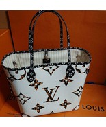Louis Vuitton Neverfull Bag MM Jungle Giant Tote Ivory white Monogram M4... - $3,455.10