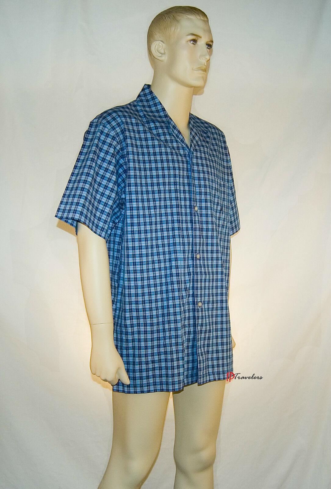 Nautica Men's Sleepwear Shirt Breezy Blue Checkered 100% Cotton Medium $36