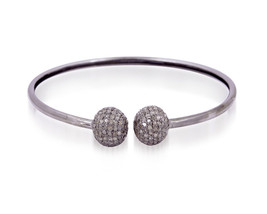 MindBlowing Victorian Repro. 1.03Ctw Rose Cut Diamond Silver Cuff Bracelet - $443.81