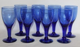 "7 Cobalt Elongated Bowl Ball @ Stem Bottom Blown 7"" Heavy Goblets EXC Ra... - $49.99"