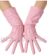 PINK MID LENGTH LEATHER GLOVES LES DEBUTANTES - $29.99