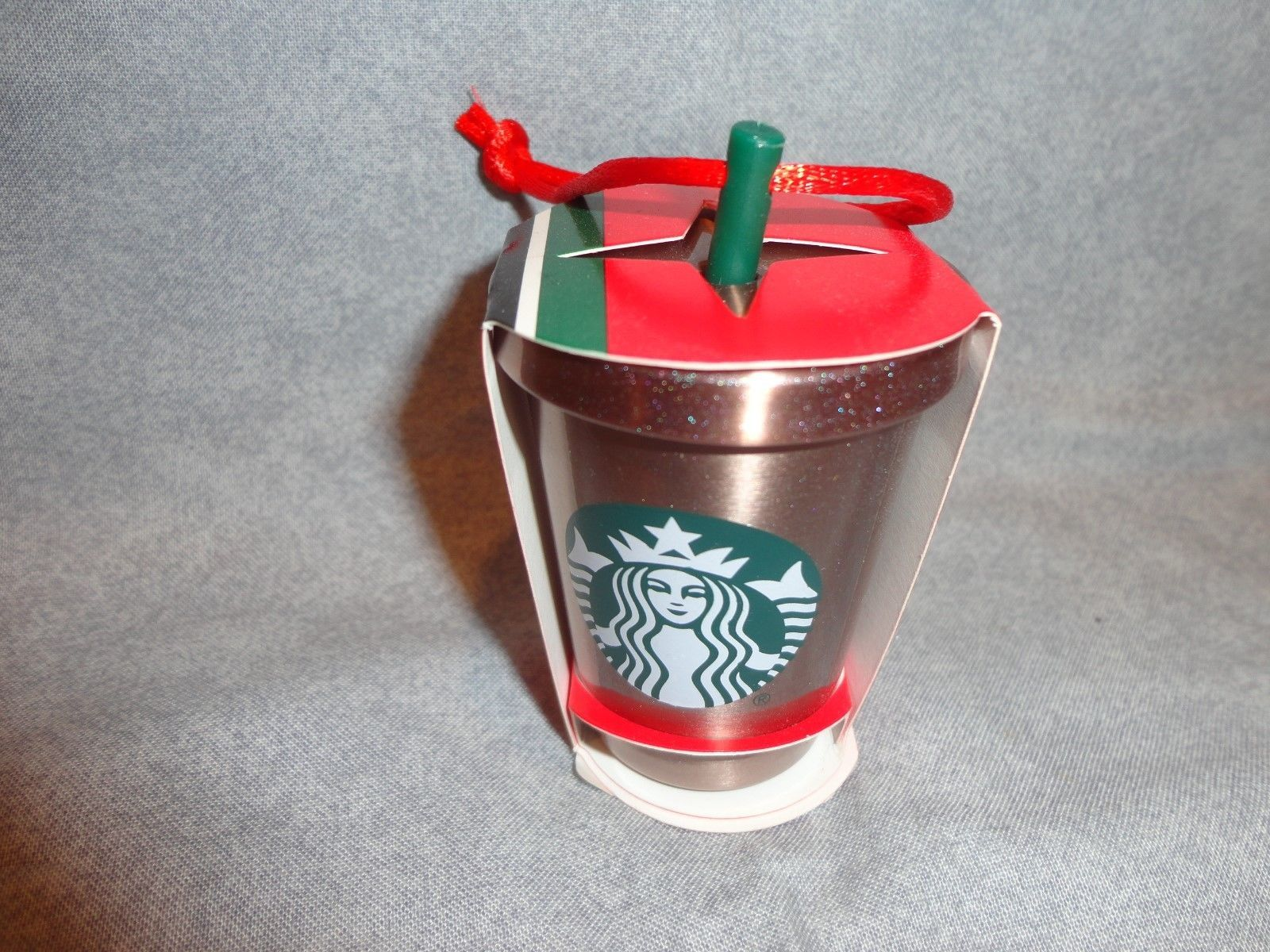 STARBUCKS 2018 STAINLESS STEEL COLD CUP WITH STRAW ORNAMENT
