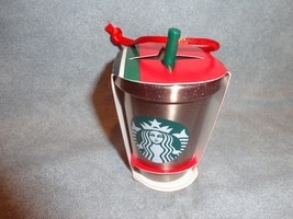 STARBUCKS 2018 STAINLESS STEEL COLD CUP WITH STRAW ORNAMENT - $20.74