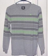 Quiksilver Boys Large Embroidered Striped Crew Neck Long Sleeve Shirt - $11.66