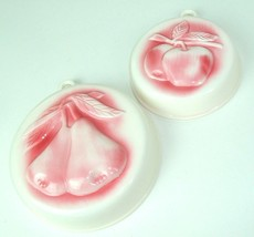 Vintage HIMARK Ceramic set of 2 Fruit Mold Wall Hanging Japan apple pear - $15.79