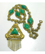 VINTAGE ART DECO GREEN BRASS GLASS CZECHOSLOVAKIA CZECH SIGNED ANTIQUE N... - $395.00
